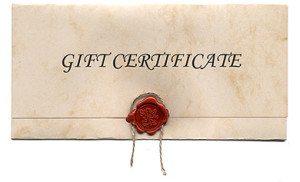 Gift certificate, birthdays, anniversary