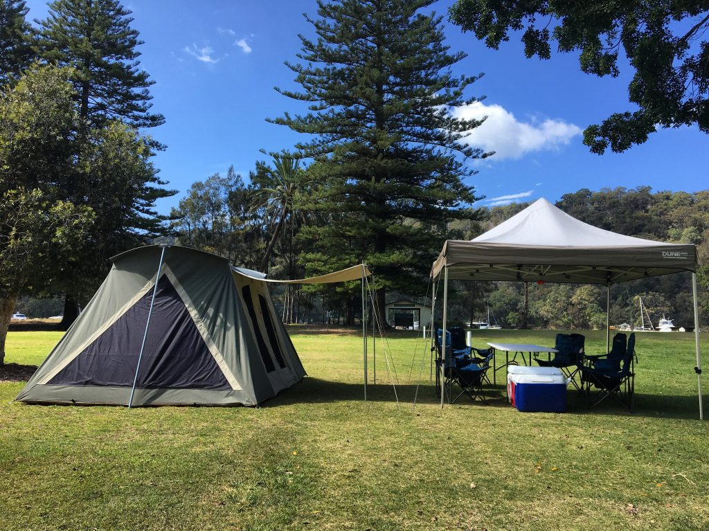 tent set up at the Basin campground