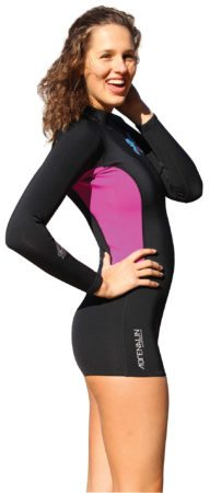 2mm Fuzion Steamer $159.95 Sizes Adult XS - 3XL Zipperless Entry for comfort and flexibility Taped Sealed Seams prevents water penetration through the seams and keeps you warm 100% 2mm SuperStretch supreme fit and performance Thermo Glide keeps you warm and makes it easy to slide on and off when wet and dry Reinforced Knee Pads for longer wearing suit Super strong Flat Lock Stitching rash-rash comfort - strength