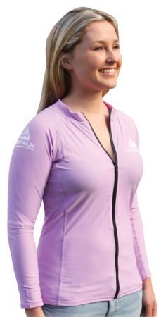 wetsuit shop on link-ladies-zip-rash-vest-lilac