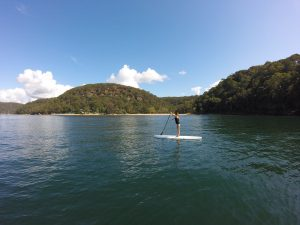 Paddle boarding Sydney at the Basin campground